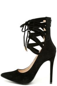 Lofty Ambitions Black Lace-Up Heels at Lulus.com!