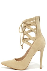 Lofty Ambitions Nude Lace-Up Heels at Lulus.com!