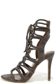 Sorry Not Sorry Grey Lace-Up Heels at Lulus.com!