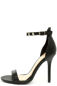 Impeccable Black Studded Ankle Strap Heels at Lulus.com!
