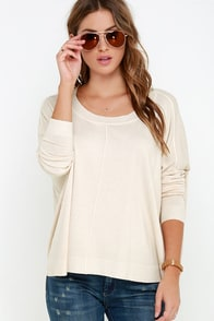 Hit Your Mark Light Beige Sweater Top at Lulus.com!