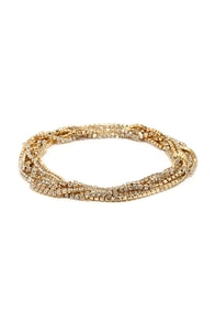 Twinkle Time Gold Rhinestone Wrap Bracelet at Lulus.com!