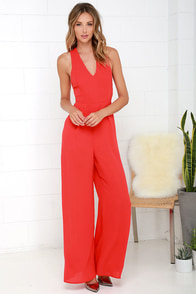 Back to Me Coral Red Backless Jumpsuit at Lulus.com!