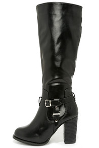 Moto Maven Black Knee High Heel Boots at Lulus.com!