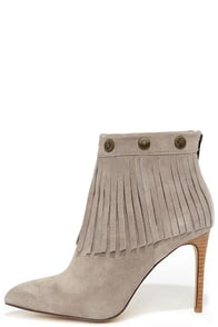 Very Volatile Massy Grey Suede Leather High Heel Fringe Booties at Lulus.com!