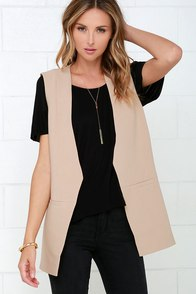 Made for Manhattan Beige Vest at Lulus.com!