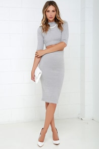 Software Update Fuzzy Grey Two-Piece Sweater Dress at Lulus.com!