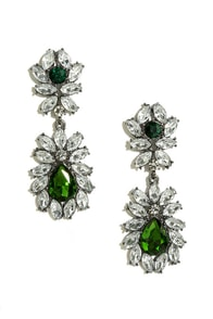 More Than Magnificent Green Rhinestone Earrings at Lulus.com!