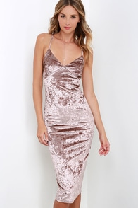 I Slink So Taupe Velvet Midi Dress at Lulus.com!