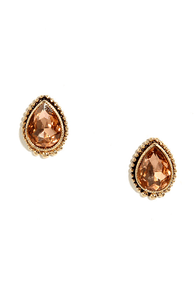 Sugarpush Gold and Pink Rhinestone Earrings at Lulus.com!