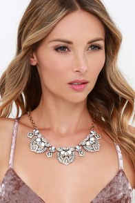 Made to Honor Grey Rhinestone Statement Necklace at Lulus.com!