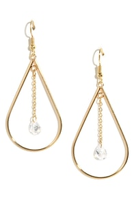 Drip Drop Dreams Gold Rhinestone Earrings at Lulus.com!