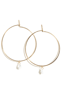 Whole Lot of Hoopla Gold Rhinestone Hoop Earrings at Lulus.com!