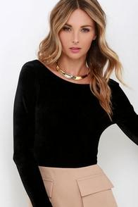 Feline Frisky Black Velvet Bodysuit at Lulus.com!