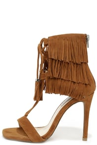 Steve Madden Shay Chestnut Suede Leather Fringe Heels at Lulus.com!
