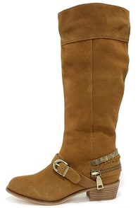 Chinese Laundry Solar Camel Suede Leather Knee-High Boots at Lulus.com!