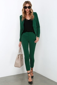 Vixen Vocation Dark Green Trouser Pants at Lulus.com!