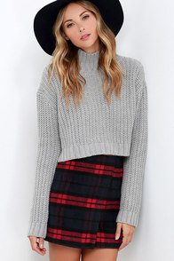 Printing Precious Red and Navy Plaid Mini Skirt at Lulus.com!