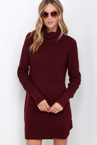 Once Smitten Burgundy Turtleneck Sweater Dress at Lulus.com!