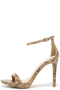 Instant Sensation Natural Snakeskin Ankle Strap Heels at Lulus.com!
