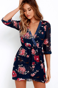Pretty Pretender Navy Floral Print Dress at Lulus.com!