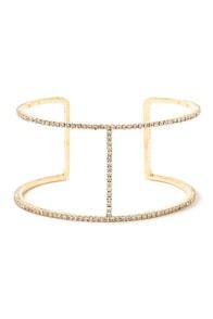 Take a Glint Gold Rhinestone Bracelet at Lulus.com!