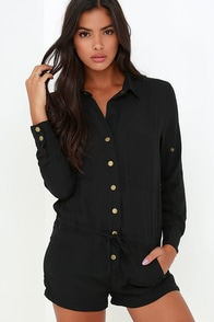 Master Plan Black Romper at Lulus.com!