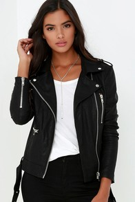 Live It Up Black Vegan Leather Jacket at Lulus.com!