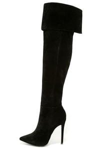Good to Be Bad Black Suede Over the Knee Boots at Lulus.com!