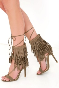Get Your Kicks Taupe Suede Fringe Heels at Lulus.com!