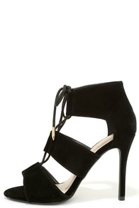 Party Lingo Black Lace-Up Heels at Lulus.com!
