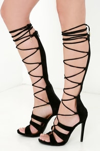 All the Way Up Black Lace-Up Heels at Lulus.com!