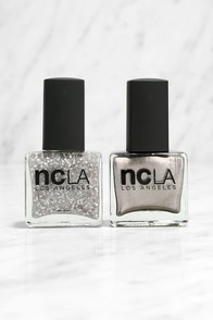 NCLA Match Made in Cali Sparkle & Shine Silver Nail Lacquer Set