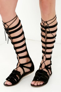 To Rome With Love Black Tall Gladiator Sandals at Lulus.com!