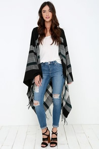 Dawn of Time Cream and Black Plaid Poncho at Lulus.com!