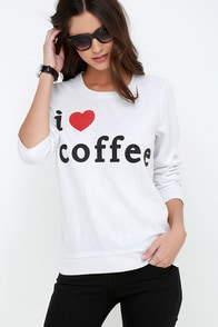 Chaser I Heart Coffee Ivory Sweatshirt at Lulus.com!