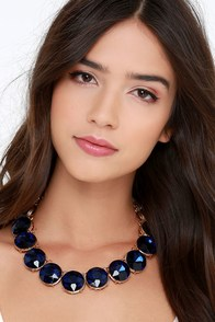 Arctic Gems Navy Blue Rhinestone Necklace at Lulus.com!