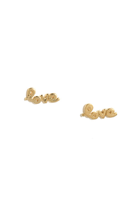 What is Love? Gold Love Earrings at Lulus.com!