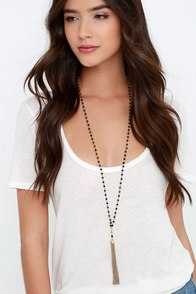 Shimmy Some Lovin' Black Beaded Tassel Necklace at Lulus.com!
