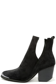 How You Slice It Black Suede Cutout Booties at Lulus.com!