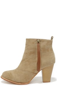 Something So Right Beige High Heel Booties at Lulus.com!