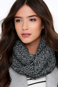Come Full Circle White and Black Infinity Scarf at Lulus.com!