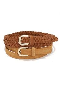 Barrel Racer Tan Leather Belt Set at Lulus.com!