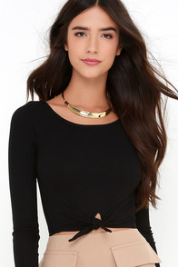 Amuse Society Brady Black Long Sleeve Crop Top at Lulus.com!