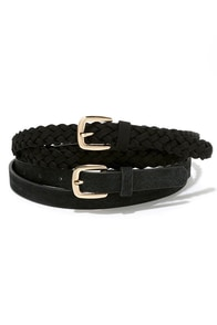 Barrel Racer Black Leather Belt Set at Lulus.com!