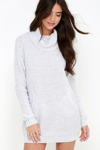 Foggiest Idea Light Grey Sweater Dress at Lulus.com!