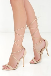 What's Not To Love Natural Suede Lace-Up Heels at Lulus.com!