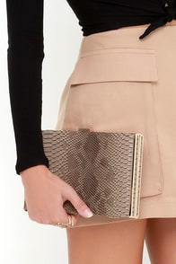 Happy Hunting Taupe Clutch at Lulus.com!