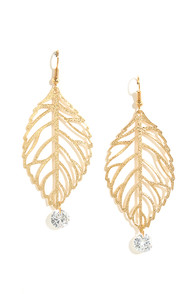 Tea Leaf Dancer Gold Rhinestone Earrings at Lulus.com!