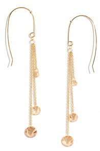 Torch Carrier Gold and Peach Rhinestone Earrings at Lulus.com!